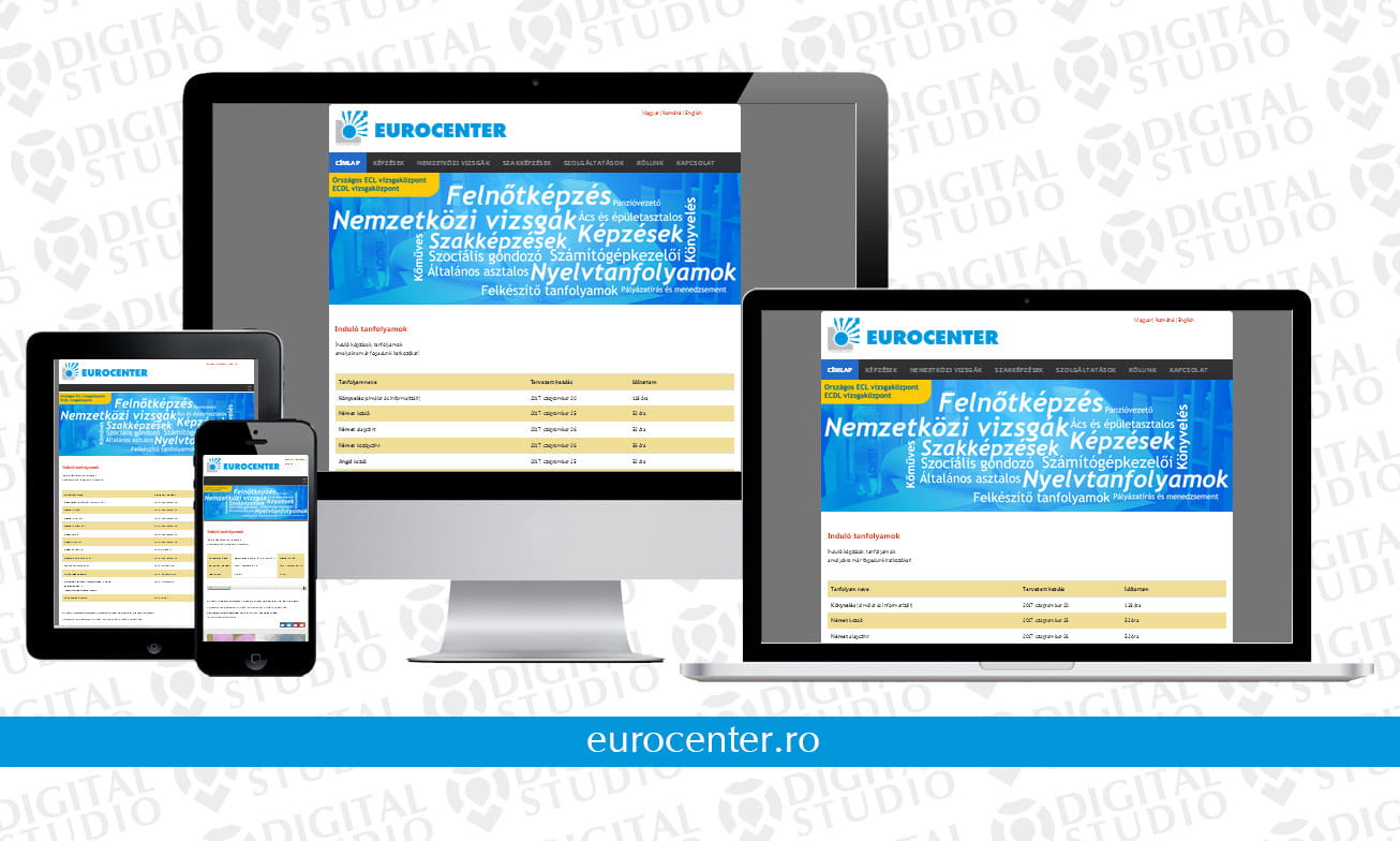 eurocenter.ro - design si dezvoltare website Digital Studio
